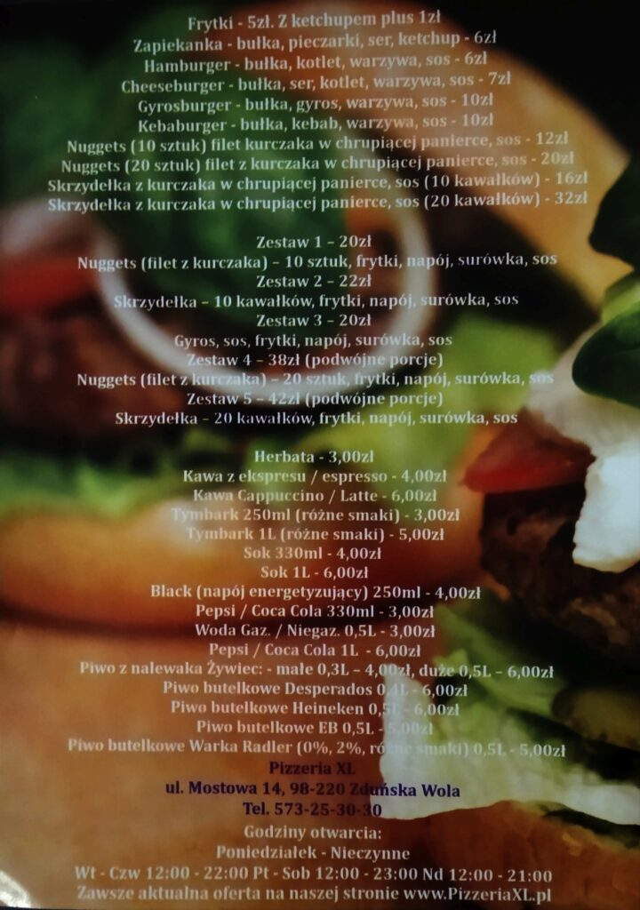 menu-pizzeria-xl-zduńska-wola-2