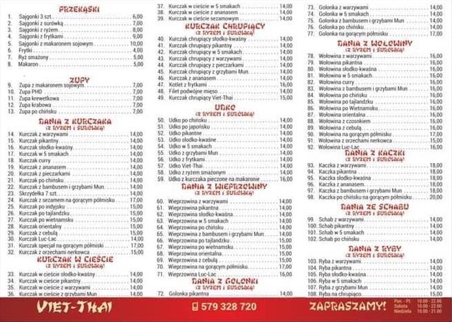Viet Thai Bar Orientalny Menu Moja Zdunska Wola