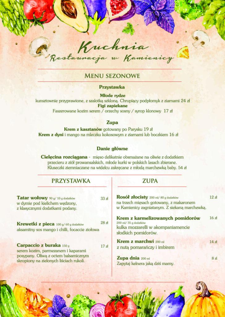 restauracja w kamienicy zduńska wola menu